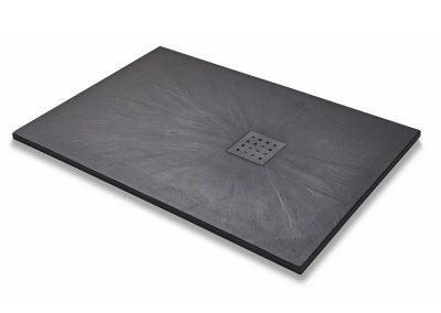 Kartell 1200mm x 800mm Rectangal Slate Effect Shower Tray Black